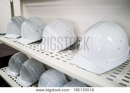 Industrial White Safety Helmet Storage In Factory