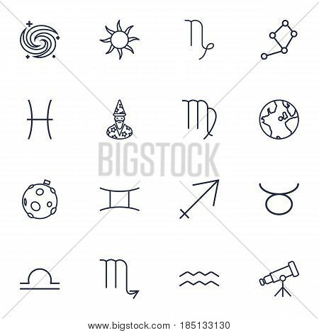 Set Of 16 Astronomy Outline Icons Set.Collection Of Pisces, Globe, Astrologer And Other Elements.