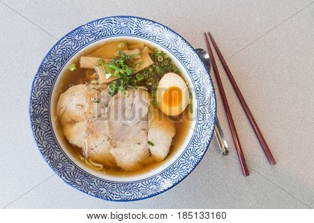 Delicious Authentic Japanese Ramen With Pork And Egg In Bowl