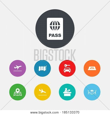 Set Of 9 Land Icons Set.Collection Of Automobile, Leaving, Carriage And Other Elements.