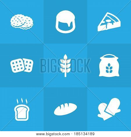 Set Of 9 Oven Icons Set.Collection Of Slice Bread, Shortcake, Pepperoni And Other Elements.