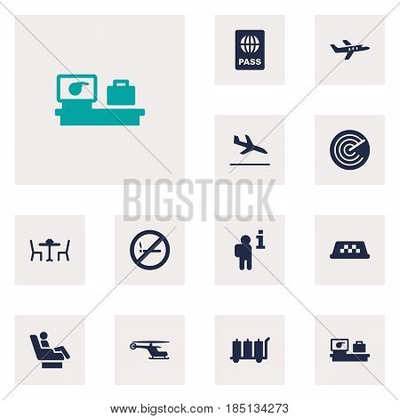 Set Of 12 Airplane Icons Set.Collection Of Letdown, Radiolocator, Passport And Other Elements.