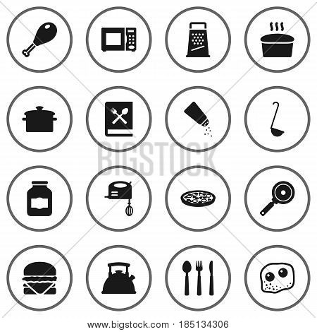 Set Of 16 Cooking Icons Set.Collection Of Loaf, Jar, Eggs And Other Elements.