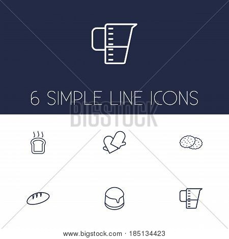 Set Of 6 Oven Outline Icons Set.Collection Of Measuring Cup, Bread, Gloves And Other Elements.