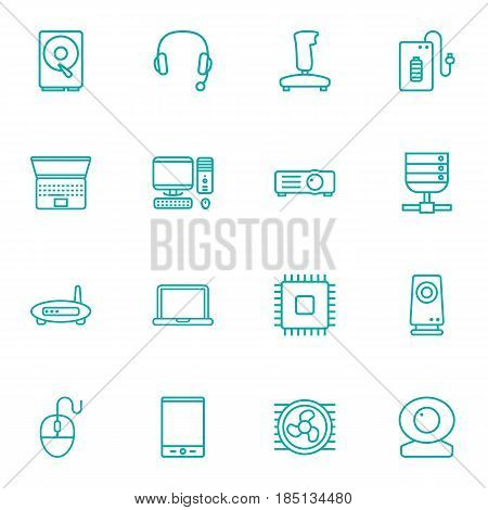 Set Of 16 Laptop Outline Icons Set.Collection Of Hdd, Notebook, Tablet And Other Elements.