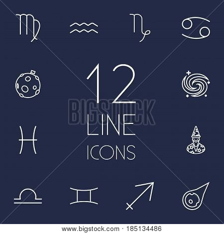 Set Of 12 Astronomy Outline Icons Set.Collection Of Moon, Gemini, Galaxy And Other Elements.
