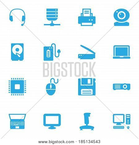 Set Of 16 Computer Icons Set.Collection Of Control Device, Laptop, Display And Other Elements.