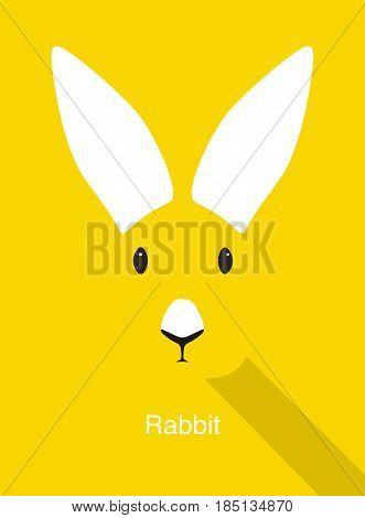 Rabbit Cartoon Face, Flat Animal Face Icon Vector