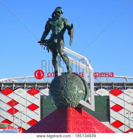 Moscow, Russia - May 03, 2017: Monument Gladiator by Alexander Rukovishnikov (2014) in front of Otkrytie Arena Stadium (Spartak Stadium) in Moscow