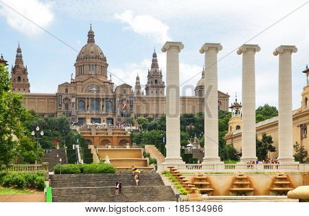 Barcelona, Spain - June 11, 2011: National Palace on Montjuic hill in Barcelona