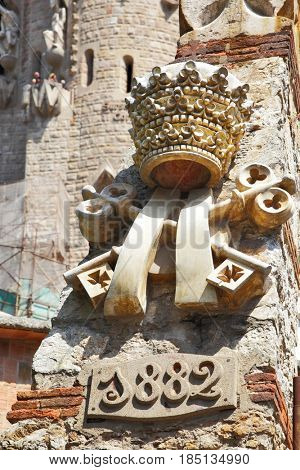 Barcelona, Spain - June 14, 2011: Sign on the occasion of beginning construction  the La Sagrada Familia cathedral in Barcelona in 1882
