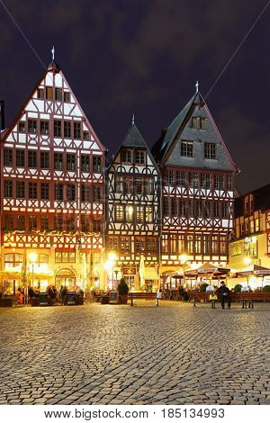Frankfurt am Main, Germany - April 19, 2013: Romerberg houses in Frankfurt am Main at night