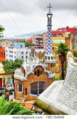 Barcelona, Spain - June 10, 2011: The famous Park Guell designed by Antoni Gaudi in Barcelona
