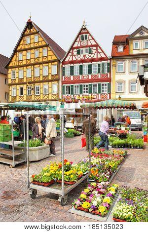 Bad Mergentheim, Germany - April 23, 2013: View of marketplace of Bad Mergentheim town in Germany