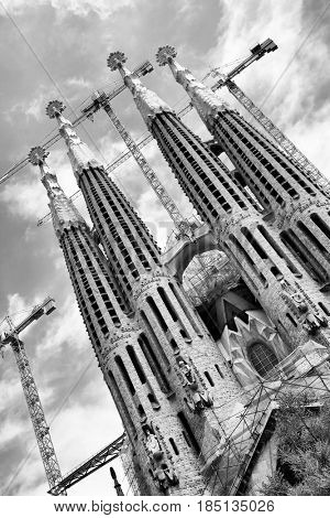 Barcelona, Spain - June 09, 2011: The La Sagrada Familia cathedral by Antoni Gaudi in Barcelona. Black and white image