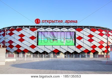Moscow, Russia - May 03, 2017: Facade of Otkrytie Arena Stadium (Spartak Stadium) with TV screen in Moscow