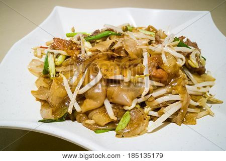 Fried Kuey Teow With Beef, Popular In Malaysia