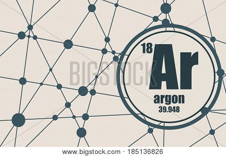 Argon chemical element. Sign with atomic number and atomic weight. Chemical element of periodic table. Molecule And Communication Background. Connected lines with dots.