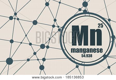 Manganese chemical element. Sign with atomic number and atomic weight. Chemical element of periodic table. Molecule And Communication Background. Connected lines with dots.