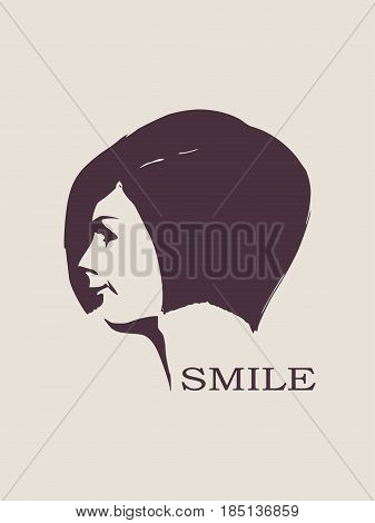 Face side view. Elegant silhouette of a female head. Vector Illustration. Short hair. Monochrome gamma. Smiling woman