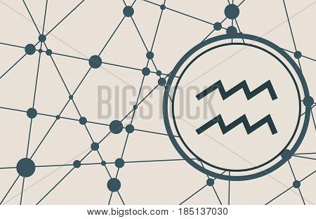 Zodiac symbol in circle. Vector illustration. Molecule And Communication Background. Connected lines with dots. Modern vector brochure, report or cover design template. Sign of the Water Bearer