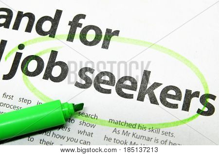 Job Seeker Circled By Green Marker