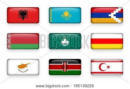 Set of world flags rectangle buttons ( Albania . Kazakhstan . Nagorno-Karabakh . Belarus . Macao . South Ossetia . Cyprus . Kenya . Northern Cyprus )