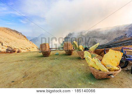 Sulphur Mining at The Ijen Volcano, Indonesia