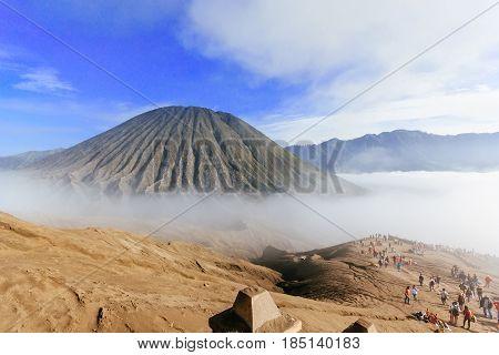 View of Mount Batok in the Bromo Tengger Semeru National Park, East Java, Indonesia.