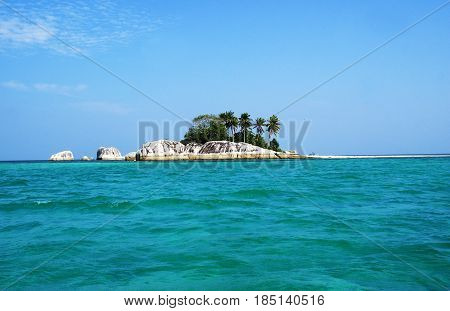 Small island with granit rocks formation in belitung, indonesia