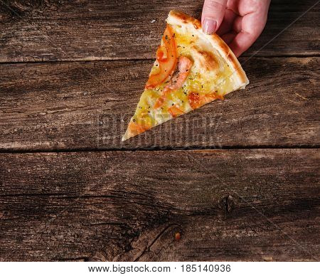 Pizza Slice Hand Italian Fast Food Restaurant Menu Dining Free Space Concept