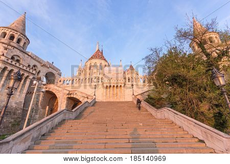 Fisherman's Bastion in Budapest at Sunrise, Hungary. View from staircase below.