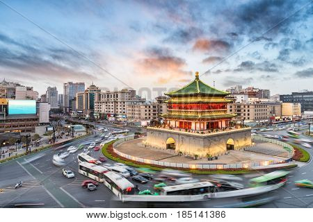 xian bell tower in ancient city with sunset glow China