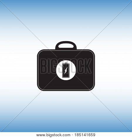 Battery flat vector sign. Black bag with battery isolated vector icon. Recharging toolkit vector illustration.