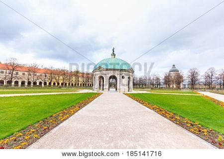 The Hofgarten of Munich with Bavarian state chancellery building, Germany