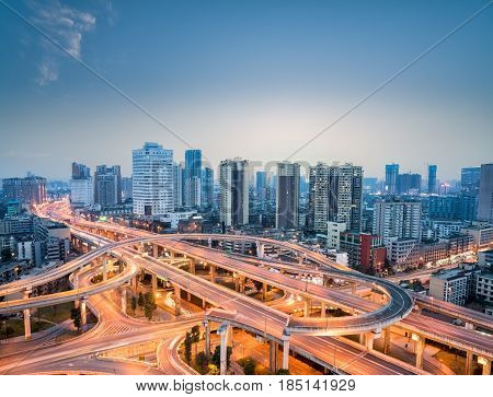 city interchange in nightfall beautiful chengdu skyline with overpass background