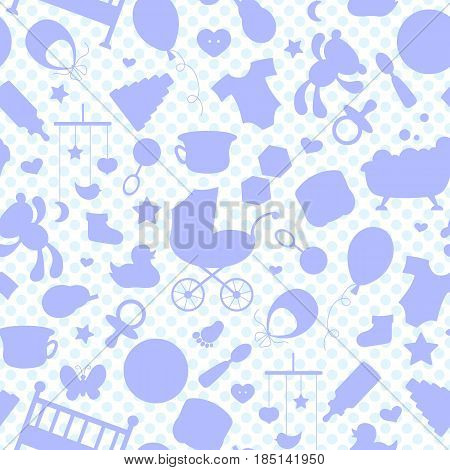 Seamless pattern on the theme of childhood and newborn babies baby accessories accessories and toys the outlines of objects pink icons on a white background with blue polka dots