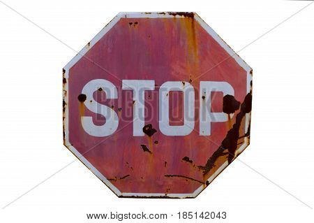 Grunge old stop traffic sign dirty old isolate