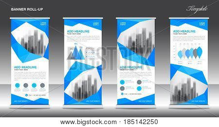 Roll up banner stand template design blue banner layout advertisement polygon background pull up vector illustration business flyer display x-banner flag-banner infographics presentation poster abstract geometric