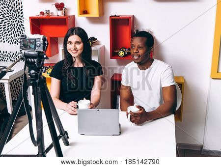 Blogger Startup New Business Man Woman Partners Black White Camera Video Blog Modern International Relationship Concept
