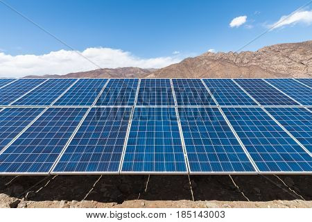 photovoltaic power station on tibetan plateau closeup of the solar energy panels