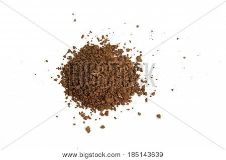 Pile of fresh ground coffee powder isolated on white background.