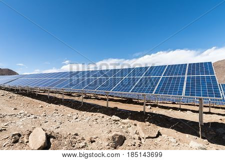photovoltaic power station on tibetan plateau solar energy development background