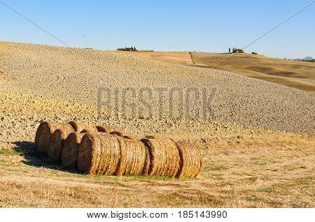 Drying haystacks on the barren autumn field in Crete Senesi, Tuscany, Italy