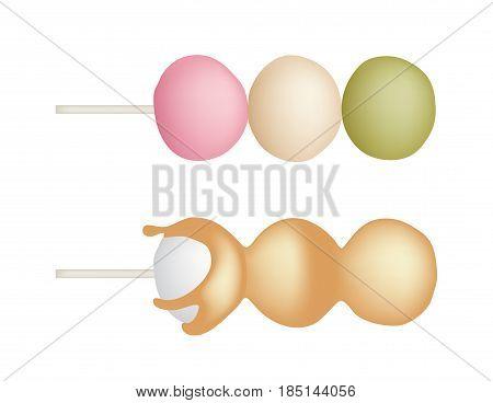 Hanami dango vector ( Three color dumpling )
