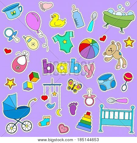 Icons set of patches on the topic of childhood and newborn signs on a purple background