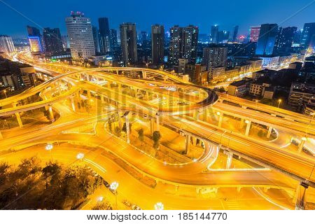 city interchange closeup at night beautiful flyover or viaduct in chengdu