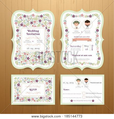 Rustic blossom flowers wedding invitation card and RSVP set on wood background