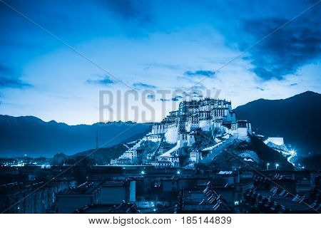 the potala palace at night with blue tone tibet autonomous region China