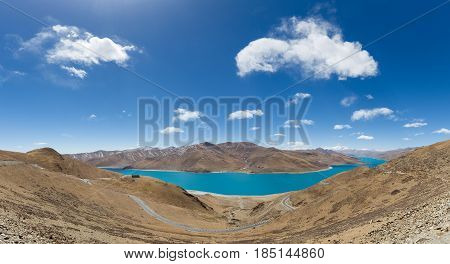 a panoramic view of holy lake yamdrok beautiful tibet landscape